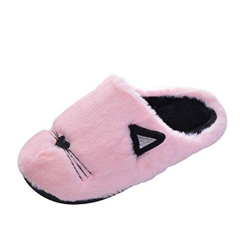 Men Cartoon Slippers Slipper Pink Slip Non Women for Shoes Cozy Winter Memorygou Fur and Children 7PRqgYcw
