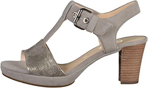 Las mujeres sandalias de Gabor St.Tropez 42.394.61 gris, Gr. 37,5 a 40, de cuero, de anchura G grau/kombi