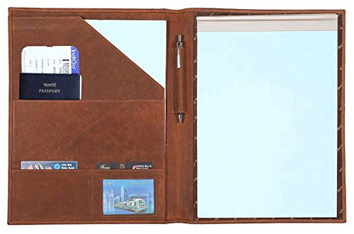 Handmade Leather Luxury Business Portfolio by Rustic Town | Professional Organizer Gift for Men & Women | Durable Leather Padfolio 3 + 1 Sleeves for documents and Notepad (Brown) ()