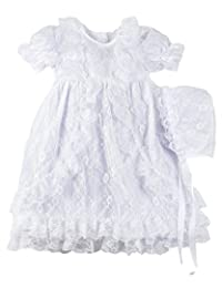 The Children's Hour Fully Lined All-Over Lace Baptism Christening Gown & Bonnett