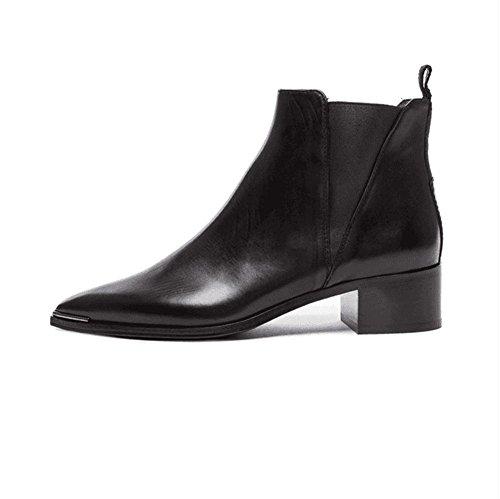 Hiver Véritable Automne 3 Travail de NVXIE Pointue Appartements Femmes Cuir Partie en EUR35UK3 Bottes Chaussures Pointe Cuir Martin 8q7x8R4wp