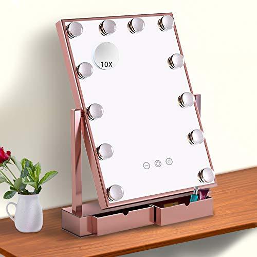 Fenair Makeup Vanity Mirror With Lights -2 Storage Boxes- Large Lighted Vanity -