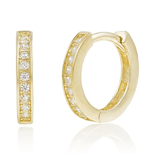 Yellow Gold Plated Sterling Silver Cubic Zirconia Huggie Hoop Earrings by Spoil Cupid