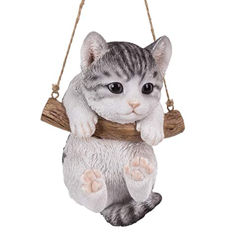 Pacific Giftware Realistic Kitten Hanging from Branch Rope Hanger Statue