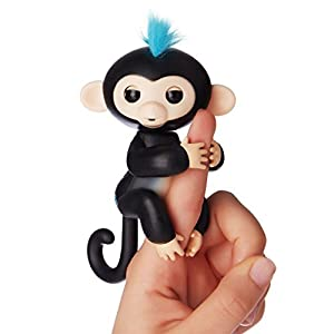 Interactive Baby Monkey,LEDeng Fingerlings Pet Electronic Little Baby monkey Children Kids Toys (Black1)
