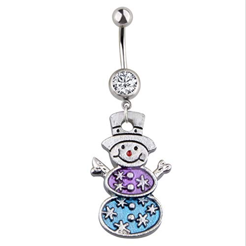 Autumn Water Surgical Steel Dangle Navel Rings Snowman Navel Fashion Women Belly Button Ring Piercing Body Jewelry by Autumn Water