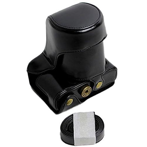 Protective PU Leather Camera Case Bag For FUJIFILM Fuji X Series X - A3 18 - 55mm Lens with Shoulder Neck Strap Belt Black