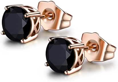 MASOP Women Cubic Zirconia 7mm Rose Gold Color Stud Earrings 6 color