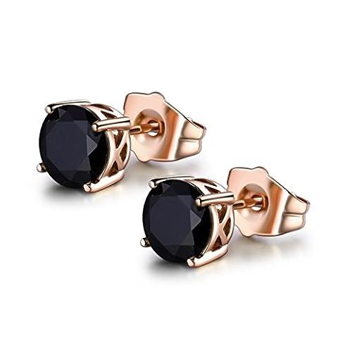 MASOP Women Black CZ Zircon Rose Gold Color Pierced Earrings Studs