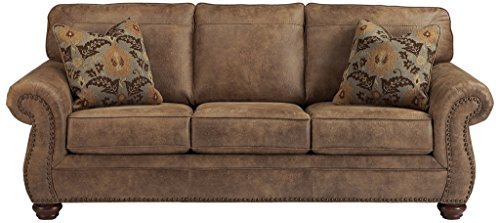 Signature Sofa Leather Set - Ashley Furniture Signature Design - Larkinhurst Sofa - Contemporary Style Couch - Earth