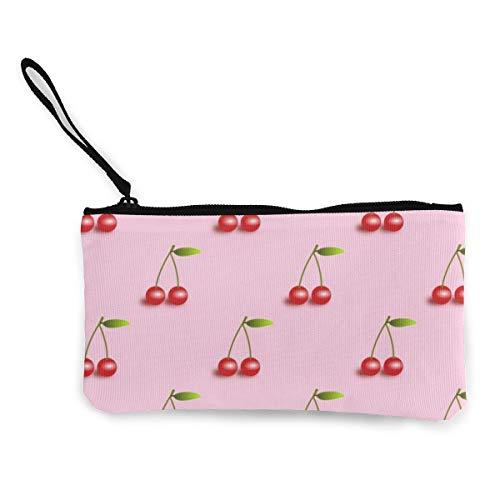 LXP FZD Fresh Cherry Canvas Cash Coin Purse Lightweight Wristlet Wallet Money Cash Bag Cellphone Bag with Zipper