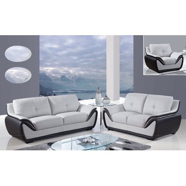 Global Furniture Usa 3250 3 Piece Bonded Leather Living Room Set In Grey & Black price