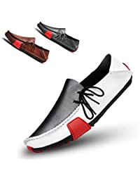 Men's Casual Leather Loafers Breathable Driving Shoes
