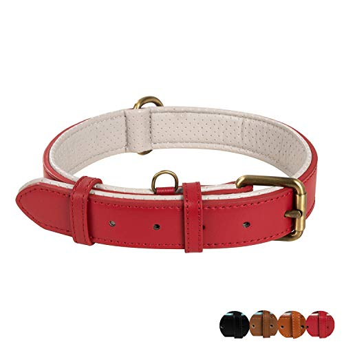 Poohoo Genuine Leather Dog Collar Soft & Breathable Padded | Metal Hardware Rust-Proof | Heavy Duty | Dog Tag Ring | for Medium Large X-Large Dogs (Large, Red)