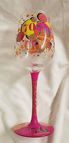 Copa de vino con diseño de globo de 70 cumpleaños, algo ...