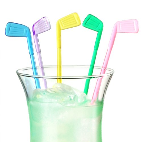 Golf Club Cocktail Stirrers - Pack of 50 | Plastic Drink Stirrers