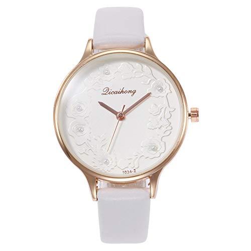 (dezirZJjx Quartz Watches for Women, Fashion Women Round Dial Flower Embossed Faux Pearl Analog Wrist Watch - White for Valentine's Day, Mother's Day, Anniversary, Birthday)