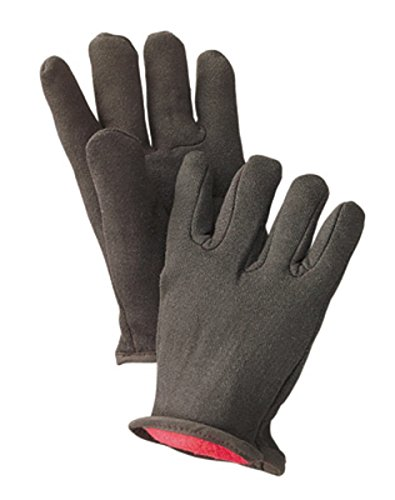 Radnor Men's Brown 14 Ounce 100% Cotton Jersey Gloves With Slip-On Cuff And Red 100% Cotton Fleece Lining (12 Pair) ()