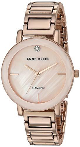 Anne Klein Women's AK/3278PMRG Diamond-Accented Rose Gold-Tone Bracelet Watch ()