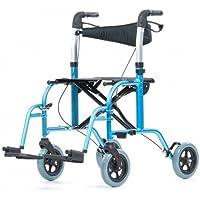 Rollstuhl und Rollator in einem, Transportrollator, Transportrollstuhl mit Rückengurt und abnehmbaren Fußstützen