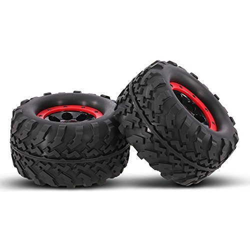 (Goolsky 2Pcs AUSTAR AX-3011 155mm 1/8 Monster Truck Tires with Beadlock Wheel Rim for TRAXXAS SUMMIT E-Revo HPI Savage XL Flux HSP RC Car )