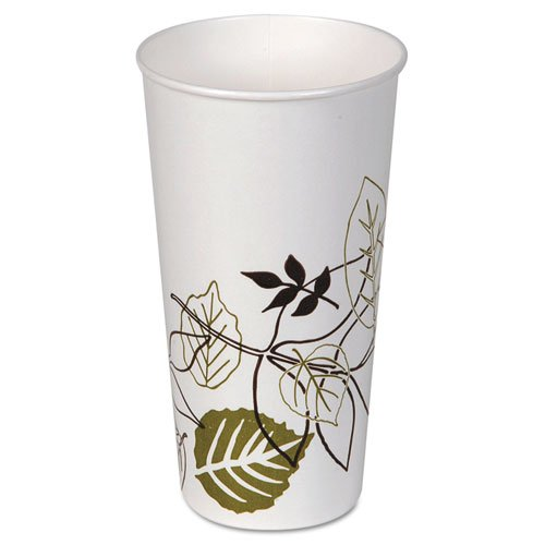 Dixie Pathways Polycoated Paper Cold Cups, 21 oz, White/Brown/Green - Includes 24 packs of 50 each.