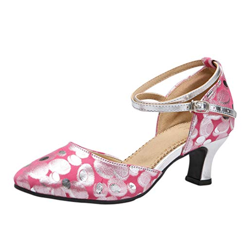 Salsa Ballroom CHENYANG Party Women's Rose Heel Cross Strap Latin Tango Mid Low Dance Shoes UYUqfw8