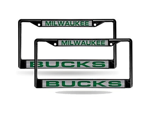 Rico Milwaukee Bucks NBA Black Metal (2) Laser Cut License Plate Frame Set by Rico