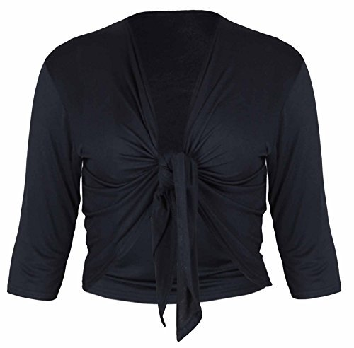 PurpleHanger Women's Plus Size Tie Shrug Bolero Cardigan Shrug Black 22-24 Tie Front Bolero