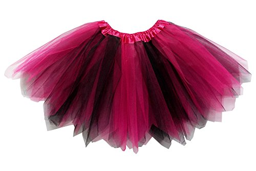 So Sydney Adult Plus Kids Size Pixie Fairy Tutu Skirt Halloween Costume Dress Up (XL (Plus Size), Hot Pink & Black) -