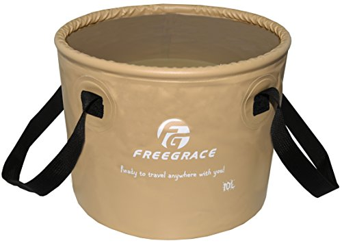(Freegrace Premium Collapsible Bucket -Multifunctional Folding Bucket -Perfect Gear for Camping, Hiking & Travel (Khaki, 10L))
