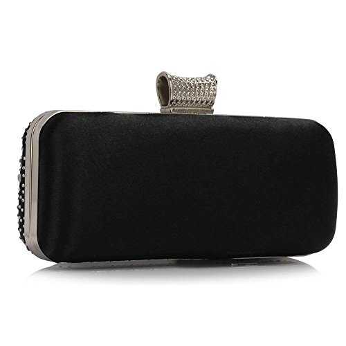 Out Evening Bag LeahWard Bag Crystal Evening Pary Women's Purse SILVER Prom Sparkly CWE00286 BLACK Clutch Satin For Night Sparkly 1EqzRIq