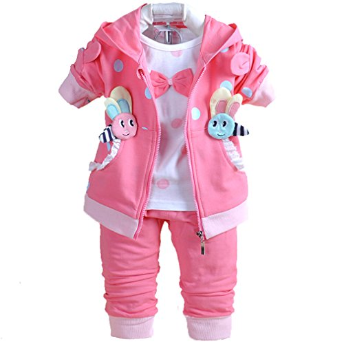 Baby Girls 3 Piece Sets T Shirt Vest and Pants 1218Months Hot Pink