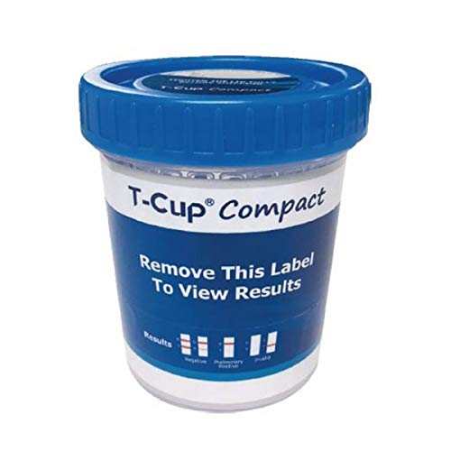 t-Cup Compact Drug Test, Test for The Following Drugs 25 Pack AMP, BAR, BZO, COC, MAMP (MET), MDMA, MTD, OPI300 (MOP), OXY, PCP, TCA, THC
