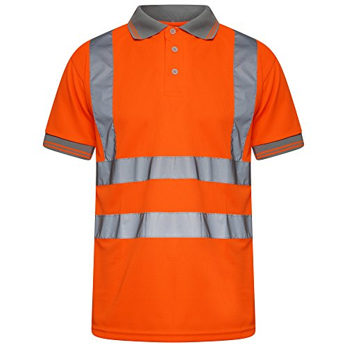INDX-Clothing Hi Viz Vis High Visibility Polo Shirt Reflective Tape Safety Security Work Button T-Shirt Breathable…