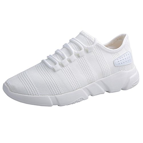 Hunputa Mens Fashion Beathable Mesh Chaussures Casual Baskets Lace-up Sport Course Chaussures De Voyage Blanc
