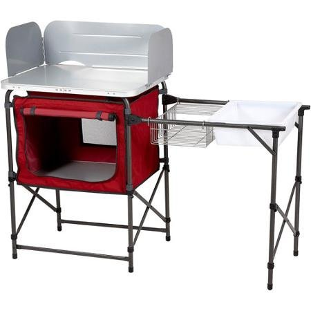 Ozark Trail Durable Steel Frame with Easy-to-clean Tabletop, Deluxe Outdoor Camp Kitchen and Sink Table by OZARK