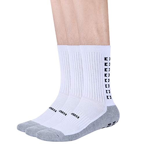 (Polyester Non Slip Socks Anti Non Skid Resistant Slipper Hospital Socks Adult Hospital and Home Care Unisex Gripper 3 Pairs White)