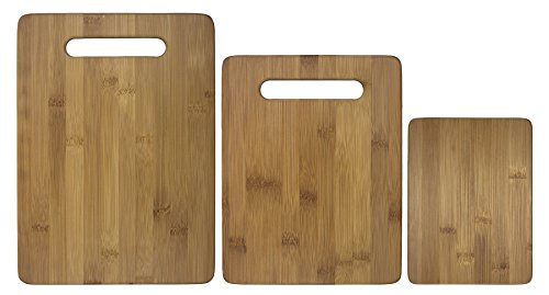 Image of Totally Bamboo 3 Piece Bamboo Cutting Board Set, For Meat & Veggie Prep, Serve Bread, Crackers & Cheese, Cocktail Bar Board