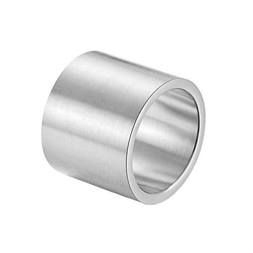 INRENG Mens Womens Stainless Steel 19mm Wide Ring Big Cool Plain Band Matte Finish Flat Top Silver Size 7