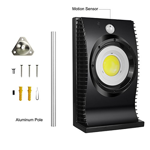 YAYALE Solar Motion Sensor Light, Garden Lamp LED Gutter Outdoor Solar Lights with Mounting Pole,Waterproof Security Patio Light, Motion Lights for Porch Garage
