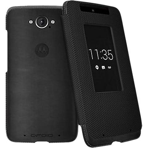Motorola Flip Case for Motorola DROID Turbo XT1254 - Black Leather and Ballistic Nylon (Motorola Pocket Pc)