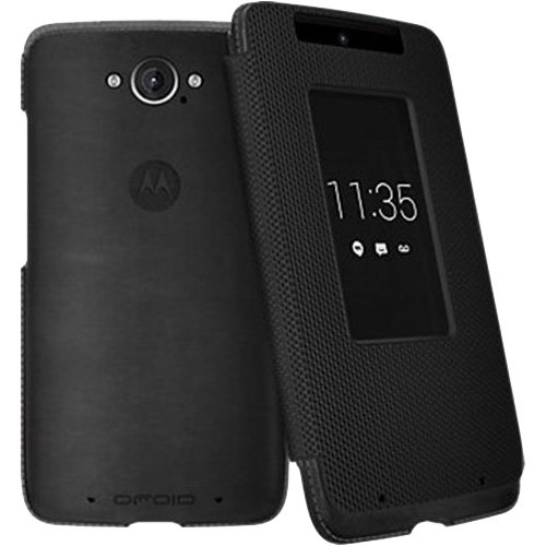 Motorola Flip Case for Motorola DROID Turbo XT1254 - Black Leather and Ballistic Nylon