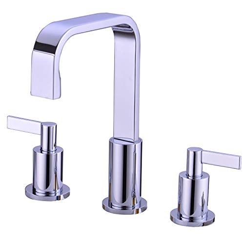 TRUSTMI 2-Handle Widespread Bathroom Sink Faucet 3 Hole Brass Basin Mixer Faucet with Ceramic Valve and cUPC Water Supply Hose Deck-Mounted, Chrome