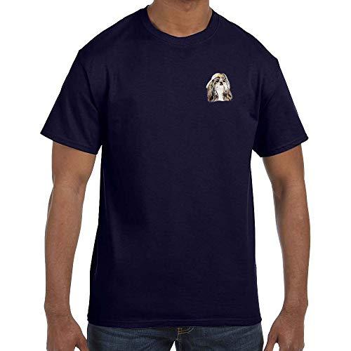 (Cherrybrook Dog Breed Embroidered Mens T-Shirts - Medium - Navy - Shih Tzu)
