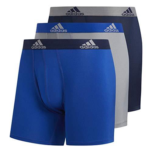 adidas Mens Climalite Boxer Briefs Underwear (3-Pack), Collegiate Royal/Collegiate Navy Grey/Collegiate Royal, Large