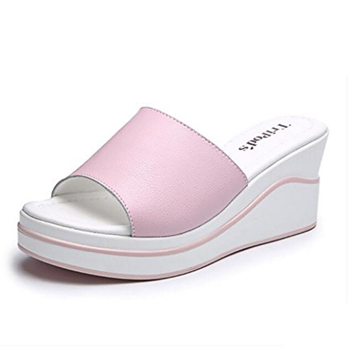 Wedges sandals and slippers, women's sandals and slippers summer fashion wild wear white non-slip sandals and slippers Flat Sandals,Fashion sandals (Color : C, Size : 37) B