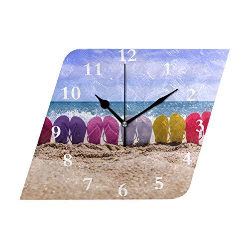 Diamond Outdoor Clock - HangWang Wall Clock Beach Flip Flops Silent Non Ticking Decorative Diamond Digital Clocks Indoor Outdoor Kitchen Bedroom Living Room
