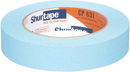 Shurtape CP 631 General Purpose Grade, Medium-High Adhesion Colored Masking Tape, 24mm x 55m, Light Blue, Case of 36 Rolls (164309)