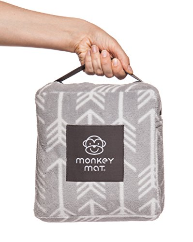 Plush Monkey Mat   5 X 5 Ultra Compact Soft And Luxurious  Waterproof Portable Mat With Corner Weights And Loops In Compact Pouch